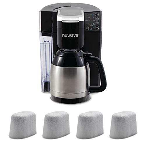 (NuWave BruHub 3 in 1 Coffee Maker with Stainless and 4 Pack Replacement Filter)