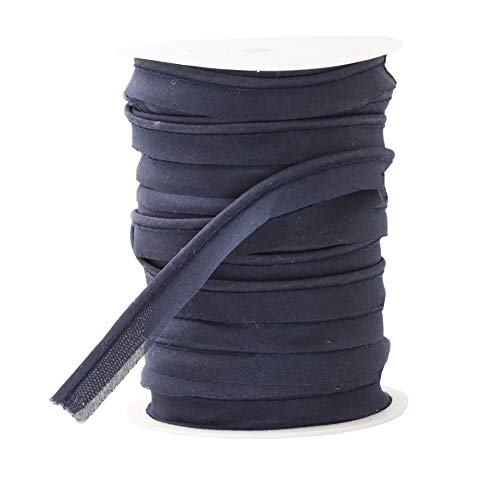 Mandala Crafts Maxi Piping Trim, Double Fold Bias Tape, Welting Cord from Cotton Polyester for Sewing, Trimming, Upholstery (Navy Blue, 2.5mm 0.5 inch 55 Yards)
