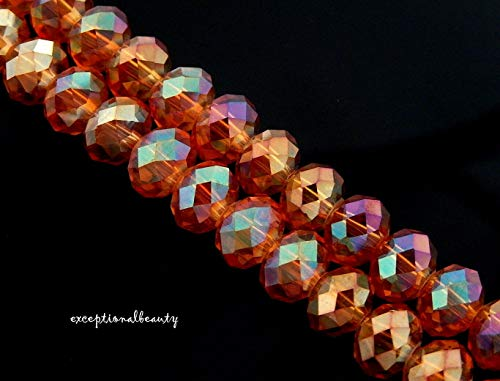 70 Celestial Crystal Copper Aurora Borealis Faceted 7.5mm Round Rondelle Beads