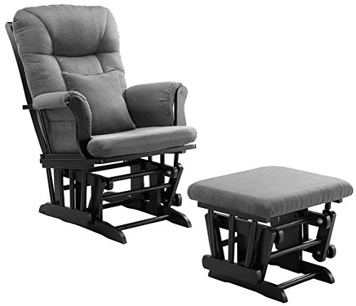 Angel Line Monterey Ii Glider & Ottoman, Black with Dark Gray Cushion