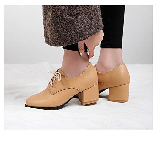 T-juli Damesmode Oxfords Schoenen - Comfortabele Lace-up Hoge Hak Ronde Neus Casual Schoenen Abrikoos
