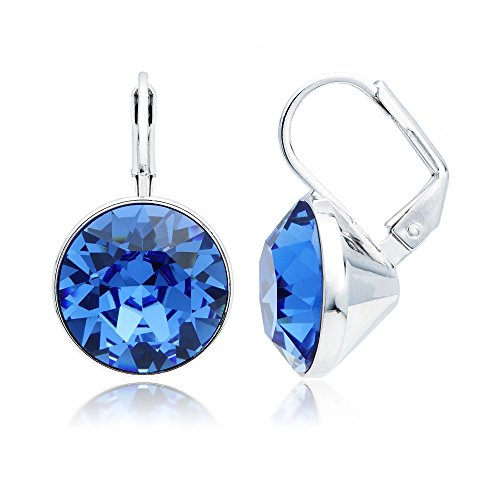 Swarovski Earrings Bella Pierced (MYJS Bella Drop Earrings Rhodium Plated with Sapphire Swarovski Crystals Exclusive Limited Edition)
