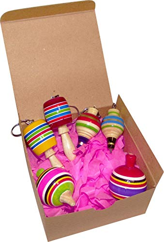 MoreFiesta Fine Mini Wooden Balero, Spin top and Trompo Keychain - Six Traditional Mexican Miniature Toys Box by MoreFiesta (Image #1)