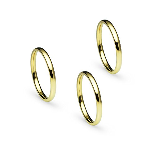 Silverline Jewelry 3pcs 2mm Stainless Steel Women's Plain Band Fit Yellow Gold Tone Size 5