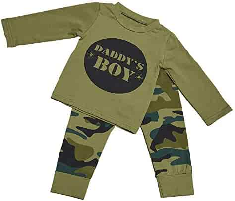 83ee41279 Baby Daddy's Boy Girls Family Matching Clothes Set Camouflage T-Shirt Tops+ Long Pants