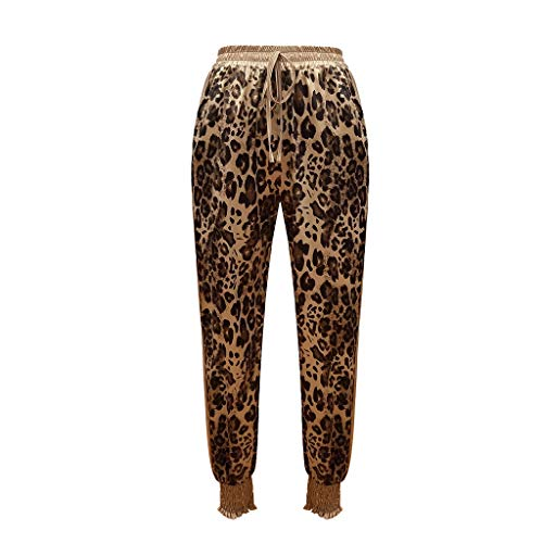 JOFOW Pants for Womens Harem Leopard Print Casual Loose Long Straight Leg High Waist Fashion Drawstring Cigarette Trousers (L,Gold) -