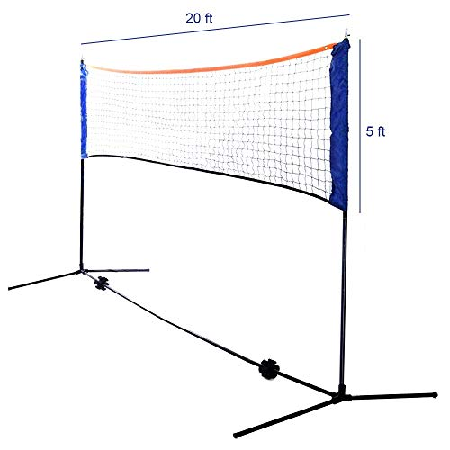 Ivation Backyard Badminton/Volleyball Set Includes 20 - Foot Net, 4 Racquets, 2 Birdies & Carry Bag (Certified Refurbished)