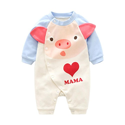 Pig Floral (Infant Baby Girls Long Sleeve Cartoon Pig Love Print Buttons Romper Outfits (3M, Pink))