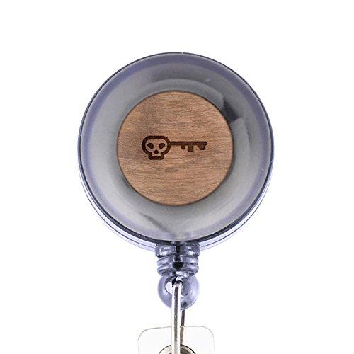 (MODERN GOODS SHOP Skeleton Key Id Badge Holder - Wooden ID Holder - Laser Engraved Design Custom ID Holder - Clip On Belt/Pocket Retractable ID Badge Holder)