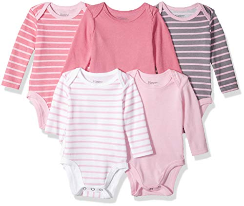 (Hanes Ultimate Baby Flexy 5 Pack Long Sleeve Bodysuits, Pink Stripe, 6-12 Months)