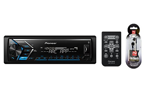 Pioneer Stereo with FREE NUTEK EARBUDS – Single DIN Bluetooth In-Dash USB Auxiliary AM/FM/Digital Media Car Stereo Receiver w/ Dual Phone Connection Pandora and Spotify ARC App / FREE NUTEK EARBUDS