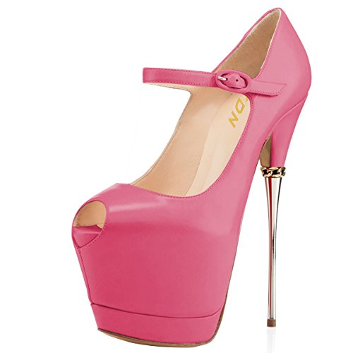 Ankle Strap Peep Toe Heels - YDN Women Peep Toe Sky High Heels Platform Pumps Ankle Straps Shoes Metal Stilettos Rossy 15