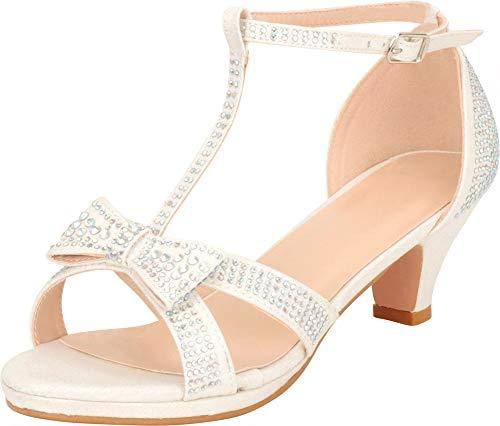 Cambridge Select Girls' Open Toe T-Strap Bow Crystal Rhinestone Low Heel Dress Sandal (Toddler/Little Kid/Big Kid),2 M US Little Kid,White Glitter