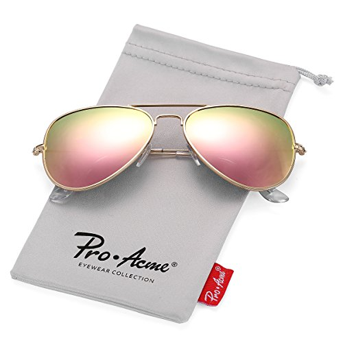 Pro Acme Classic Polarized Aviator Sunglasses for Men and Women UV400 Protection (Gold Frame/Pink Mirrored - Sunglasses Mirrored Polarized