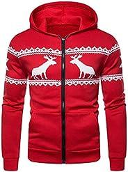 YiYLunneo Mens Christmas Reindeer Snowflake Knitted Sweater Cardigans Zipper Knitwear Hoodie Sweatershirt