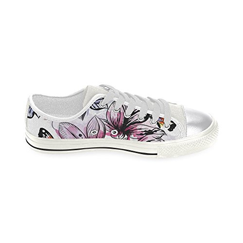 D-story Custom Floral Seamless Butterfly Mujeres Classic Canvas Zapatos Moda Sneaker