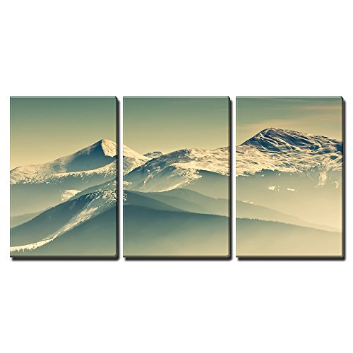 """Wall26 - 3 Piece Canvas Wall Art - Scenic View of the Winter Mountains - Modern Home Decor Stretched and Framed Ready to Hang - 16\""""x24\""""x3 Panels"""