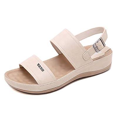85e5de3489e340 Stunner Womens Metal Buckle Comfortable Platform Sandals Apricot 42(10)