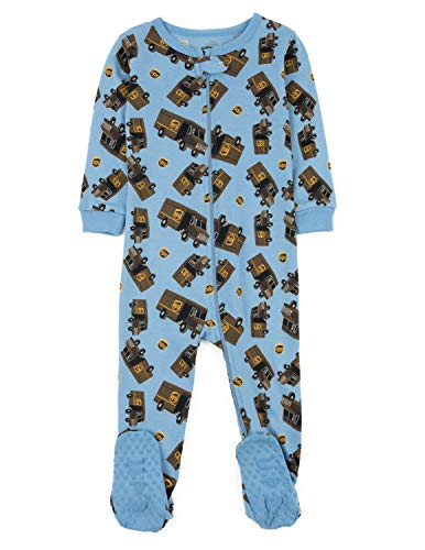Leveret UPS Truck Footed Pajama Sleeper 100% Cotton Blue 4 Years