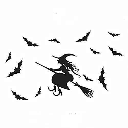 Halloween Flying Witch on Broom Bats PVC Lettering Decal Home Decor Window Bedroom Living Roon Wall Stickers Wallpaper 33x20