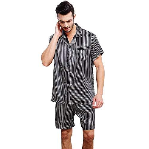 Hombres Simple Acogedor Verano Pijamas Manga Corta Estilo Conjunto Dormir Loungewear Piezas De Homewear Ropa Seda 2 Momme Pijama Negro Los wqvv7X0I