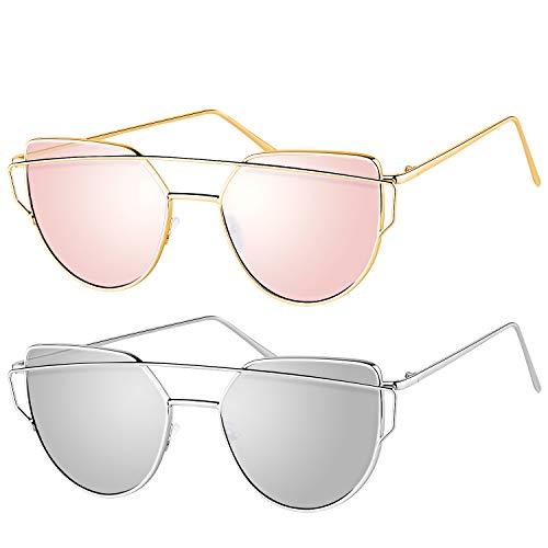 [Pack of 2]Elimoons Sunglasses for Women Men Cat Eye Mirrored Flat Lenses Metal Frame Sunglasses UV 400, Gold/Pink + Silver/Silver