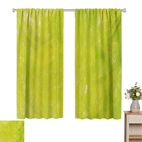 Mozenou Lime Green, Waterproof Window Curtain, Grunge Hazy Color Background with Scattered Blurry Shade Effects Mystic Print, Room Darkening Wide Curtains Apple Green