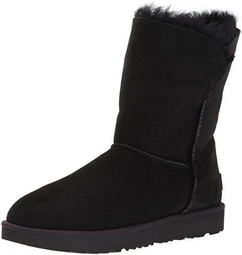 UGG Women's Classic Cuff Short Winter Boot, Black, 9 M US (Black Lined Ankle Cuff)