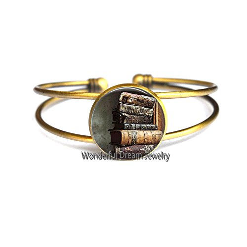 Waozshangu Stack Of Antique Books Bracelet Bangle Book Jewelry Glass Cabochon Bracelet Gift For Reader Or Writer,PU039 (Brass) -