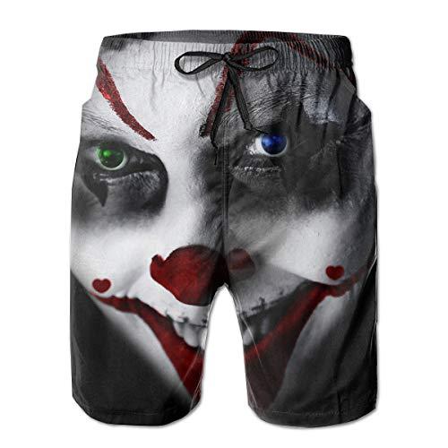 HFSST Halloween Clown Creepy Face Fear Grin Blood Drop Men Kid Male Summer Swimming Pockets Trunks Beachwear Asual Shorts Pants -
