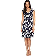 London Times Womens Printed Matte Jersey Scatter STEM Dress