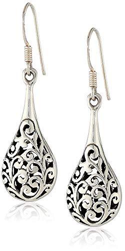 925 Oxidized Sterling Silver Bali Inspired Filigree Puffed Raindrop Dangle Hook Earrings