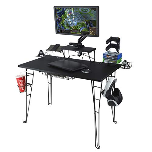 Atlantic Gaming Original Gaming Desk - 32 inch TV Stand, Charging Station, Speaker/5 Game/Controller/Headphone Storage