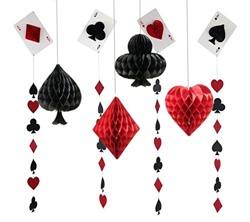 Fonder Mols Las Vegas Casino Party Honeycomb Paper Pom Poms and Porker Card Garlands for Wedding Birthday Kids Bridal Baby Shower Backdrop Decoration Pack of 8 -