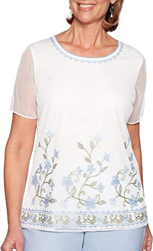 Alfred Dunner Womens Southampton Embroidered Floral Top Large - Alfred Top Dunner Embroidered