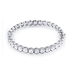 White Gold Round White Topaz Bracelets