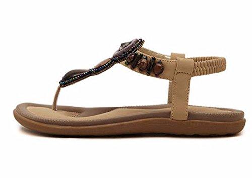 QIYUN.Z Mode Sommer Strand Vintage-Boho-Flip-Flops Knöchelriemen Sandale Flache Ferseschuhe Aprikose
