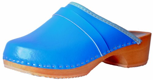 Marited Unisex-Adult Leather Wooden Clogs Blue 9ZAYS1foR