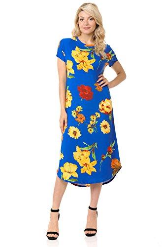 A-Line Short Sleeve Midi Dress Large Floral Royal Blue Yellow ()