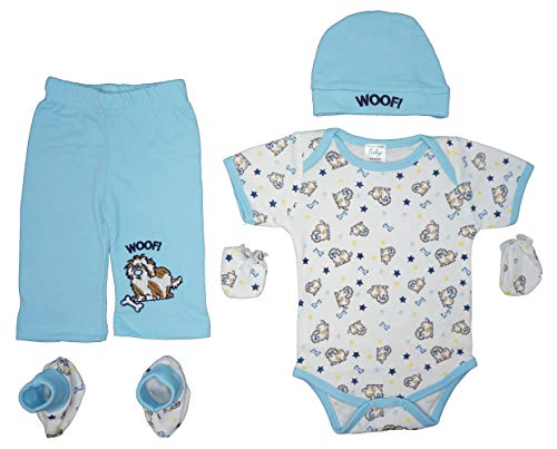 (Dog Lovers | 5-Piece Baby Boy Layette Gift Set: Bodysuit,Pants,Cap,Booties & Mitts (Woof Puppy))