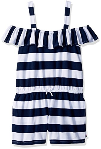 (Tommy Hilfiger Girls' Big' Fashion Romper, Flag Blue Rugby, X-Large)
