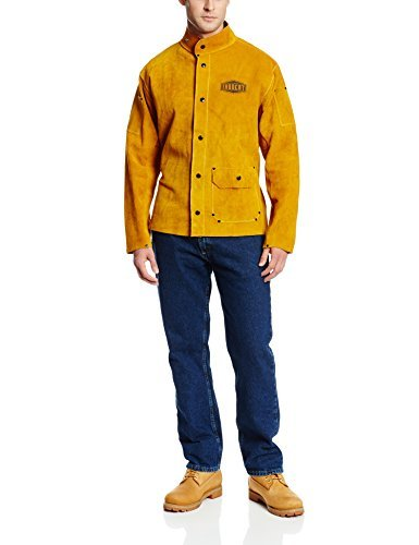 West Chester IRONCAT 7005 Heat Resistant Split Cowhide Leather Jacket - Medium, Kevlar Thread Stitched Welding Jacket in Golden Yellow. Welding Gears