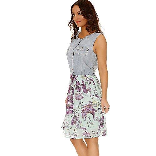 Miss Wear Line - Robe bimatière en jeans et en voilage motif fleur violette