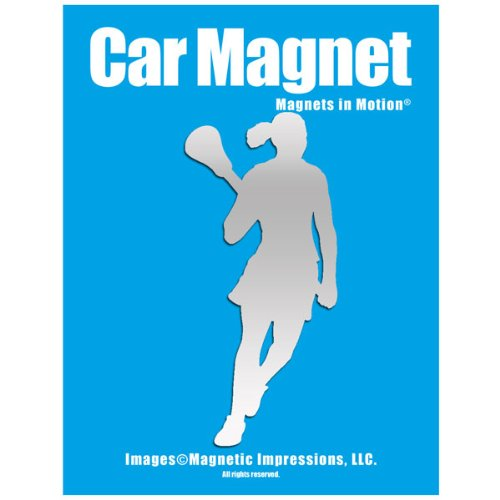 Lacrosse Female Player Pose 2 Car Magnet Chrome