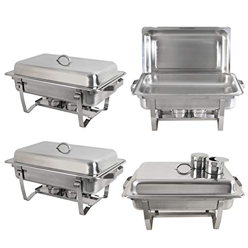 SUPER DEAL 8 Qt Stainless Steel 4 Pack Full Size Chafer Dish w/Water Pan, Food Pan, Fuel Holder and Lid For Buffet/Weddings/Parties/Banquets/Catering events (4) by SUPER DEAL (Image #3)