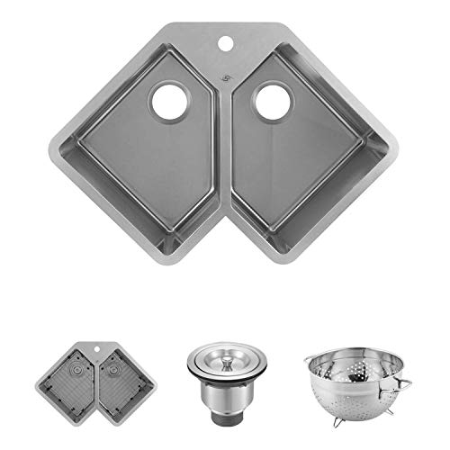 DAX Handmade Corner Double Bowl Undermount Kitchen Sink, 16 Gauge Stainless Steel, Brushed Finish, 32-3/4 x 22-3/4 x 10 Inches (DAX-347)