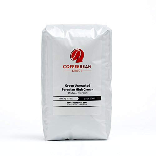 Green Unroasted Peruvian High grown, Whole Bean Coffee, 5-Pound Bag