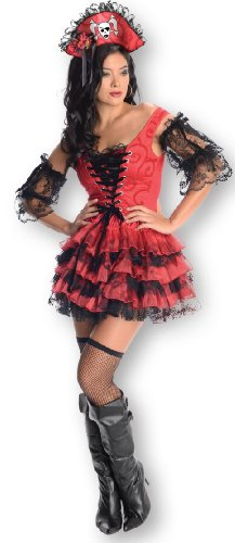Secret Wishes Swashbuckler Corset-style Pirate Dress, Red/Black, ()