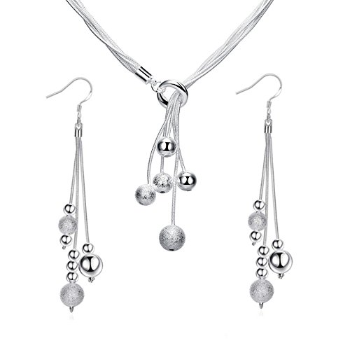 ISAACSONG.DESIGN 925 Sterling Silver Beaded Tassel Y-Shape Necklace and Dangle Drop Earring Bridal Wedding Jewelry Set for Women (Beaded Tassel Necklace and Earring 2pcs Set)