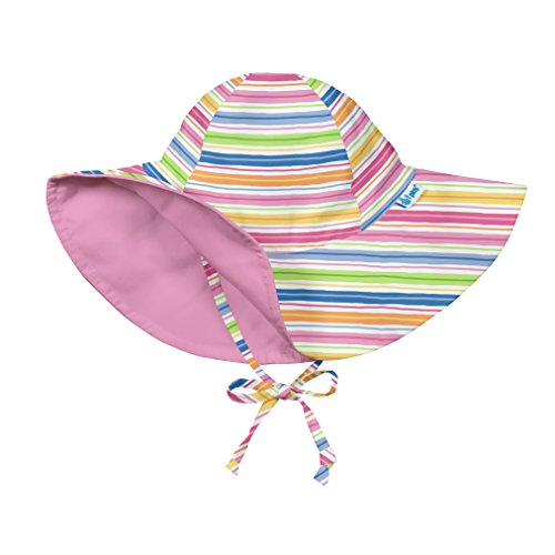 I play. Girls' Reversible Brim Sun Protection Hat, Pink Wavy Stripe, 9/18mo